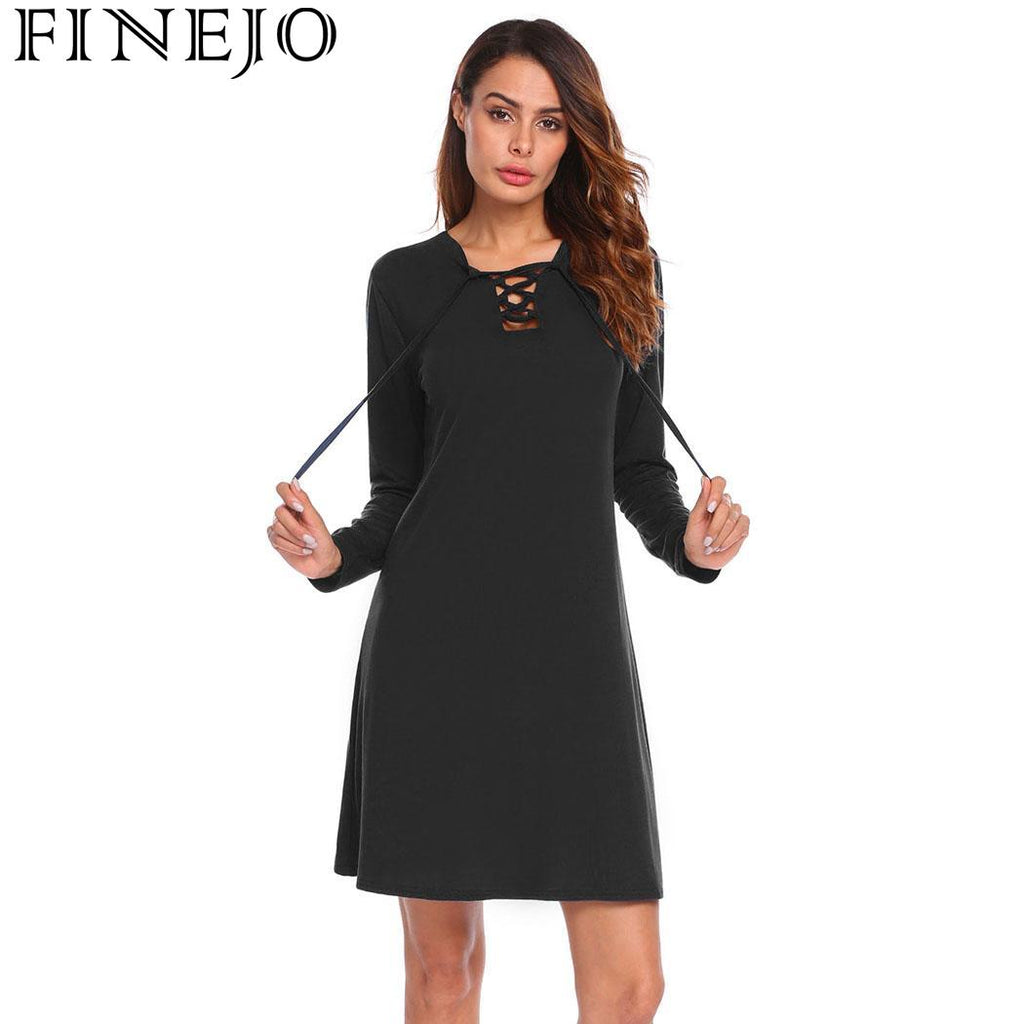 f72ab4b6 FINEJO Dress Summer Lace Long Sleeve Women Up Plain Casual Mini Top  Women's Long Sleeve Casual Plain Simple T-Shirt Loose – Beal | Daily  Deals For Moms