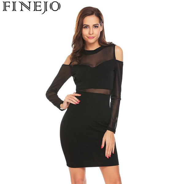 FINEJO Dress Women Cold Sexy Shoulder Sheer Mesh Patchwork Bodycon Club Pencil Stretch Party Roupas