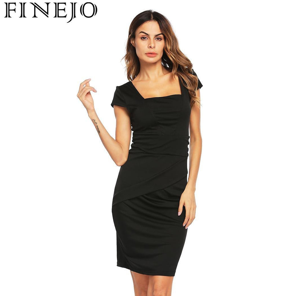 061a4e59273d FINEJO Dress Women Sexy Summer Slim Fit Bodycon Pencil Cap Sleeve Square  Neck Above Knee OL S-XXL Roupas Femininas Party – Beal