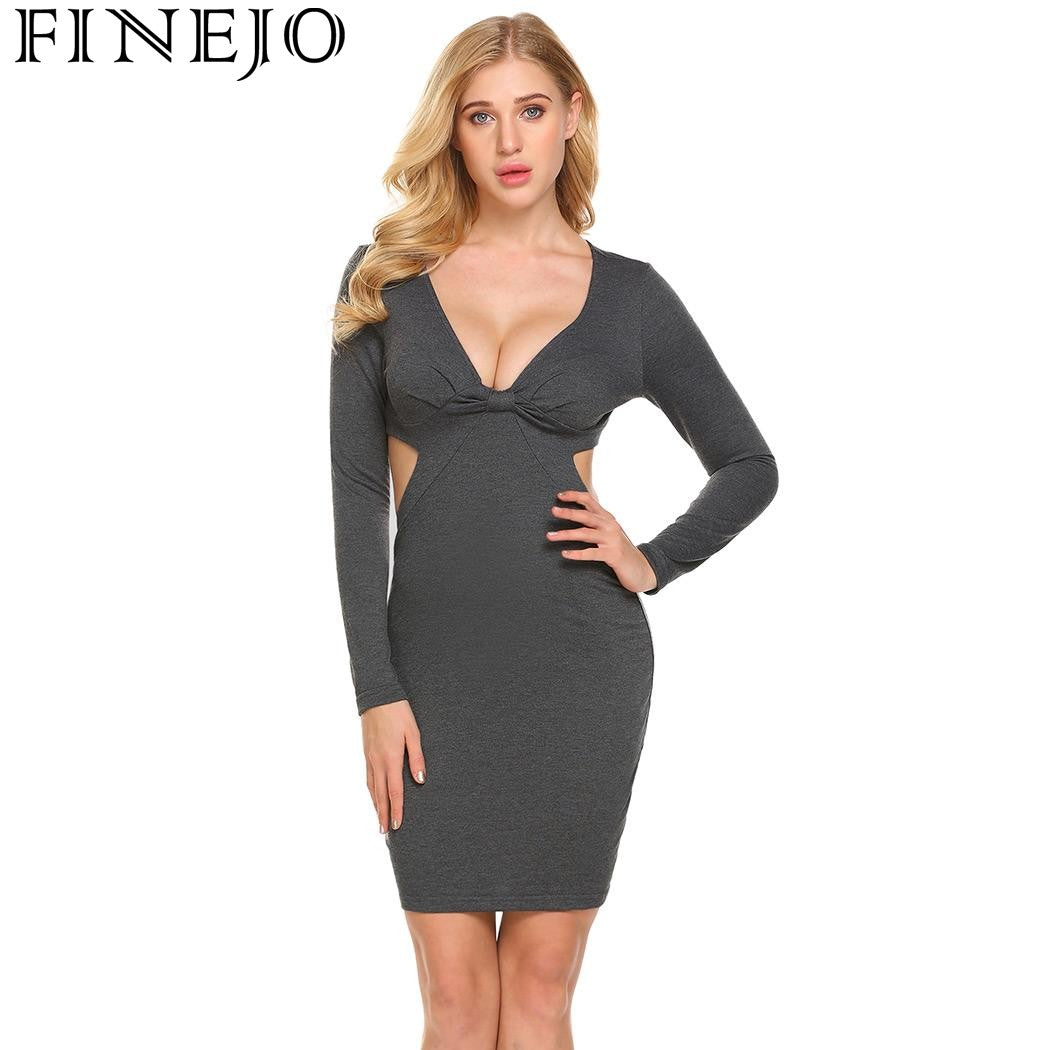FINEJO Sexy Deep V-Neck Cut Out Backless Bodycon Dress Party Women ... 6a24a6eb7