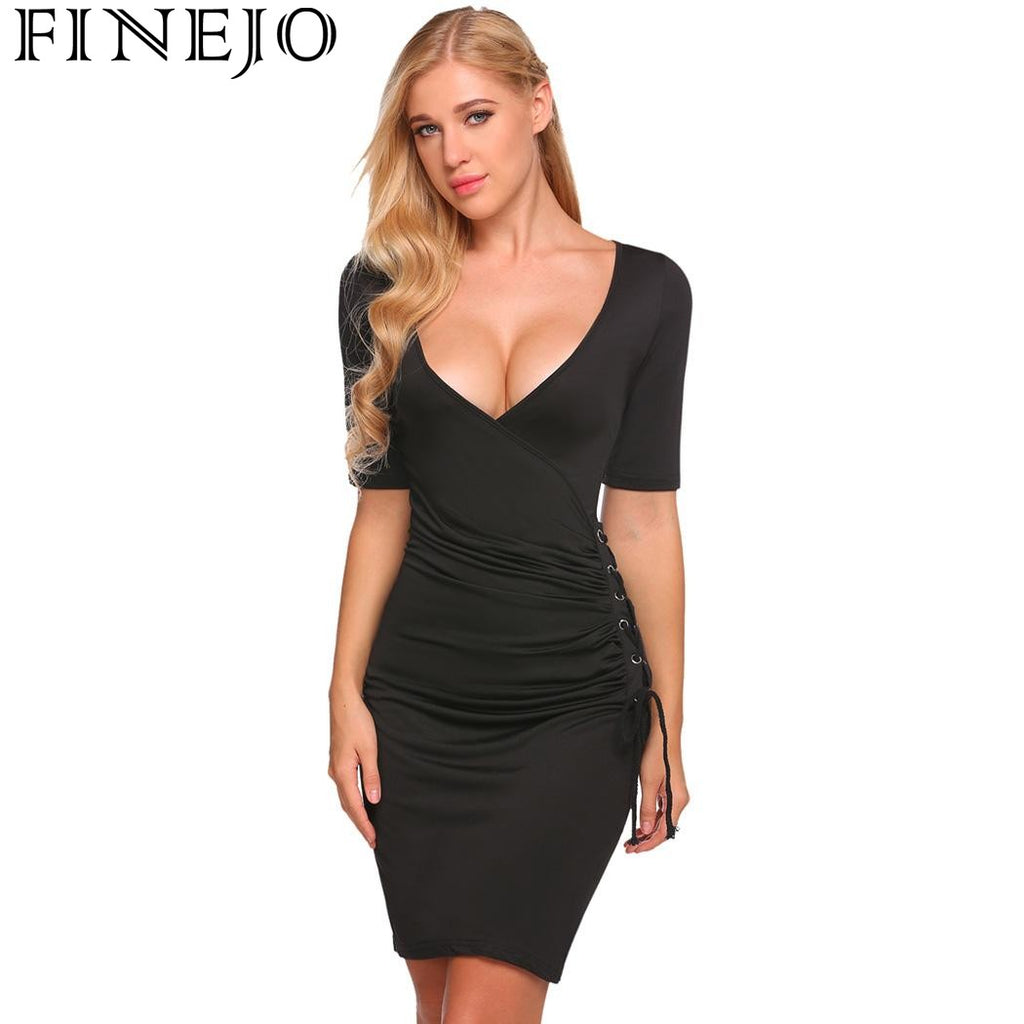 FINEJO Summer Sexy Office Dresses Women s Deep V-Neck Short Sleeve Eyelet  Lace Up Side Draped 2f67d230aa