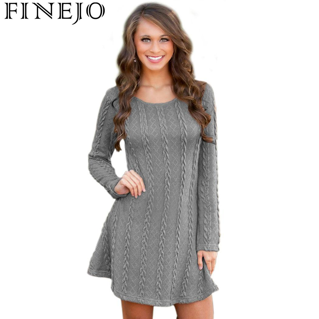 b561e86209b FINEJO Women Causal Plus Size S-5XL Short Sweater Dress Female Autumn  Winter Long Sleeve Loose knitted Sweaters Dresses – Beal