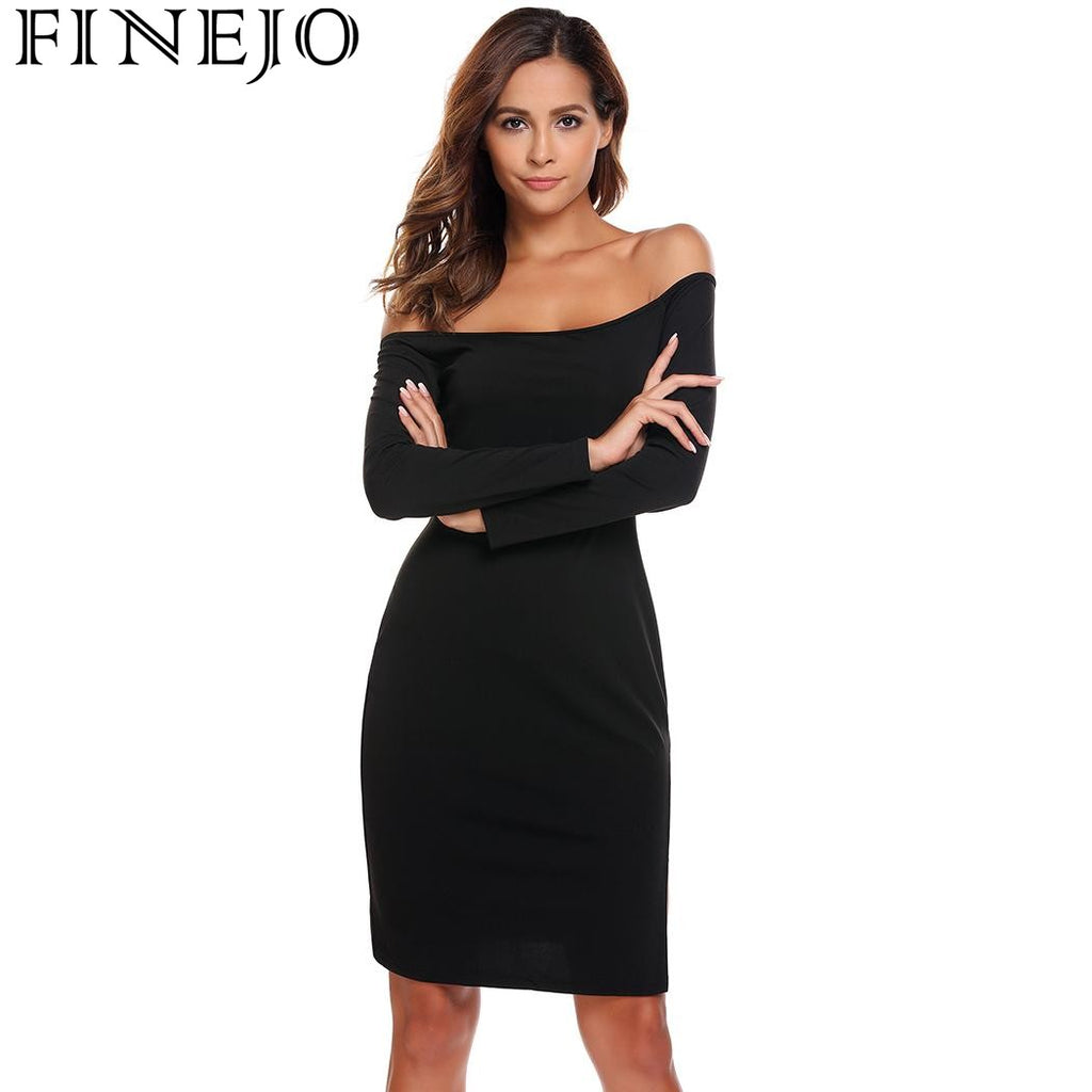 fa8e09b756b0a FINEJO Women Off Shoulder Long Sleeve Lace Patchwork Party Bodycon Dress