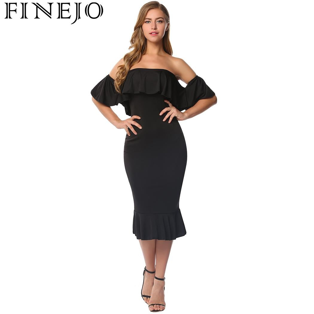 03325c22feac FINEJO off shoulder dress Summer Women  39 s Dresses Ruffles Flutter ...