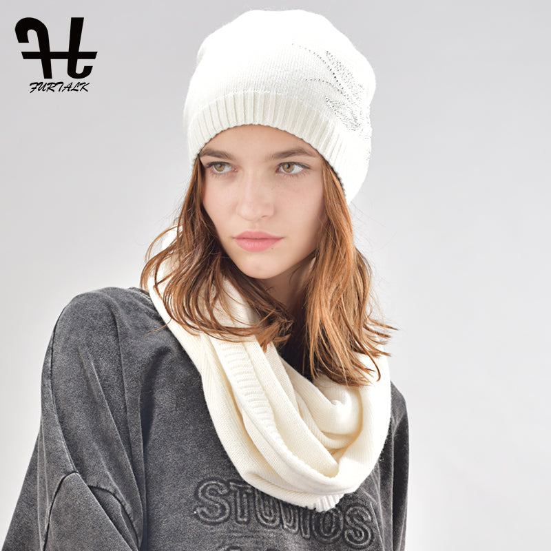 0cac06334e4 FURTALK womens cashmere and rabbit fur beanie winter hat infinity scar –  Beal
