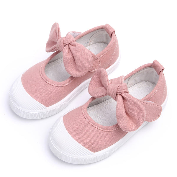 Fall 2017 Children Shoes Girls Canvas Shoes Fashion Bowknot Comfortable Kids Casual Shoes
