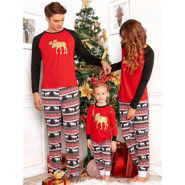 Family Christmas Pajamas Set Charming Rudolph Pattern Costume Elk Printed Housecoat Adult Kids