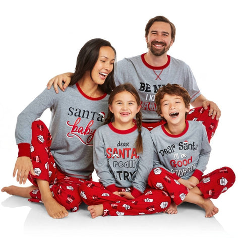 Family Matching Clothes New 2018 Christmas Letter Prints Dad&Son Pajamas Sets Family Look