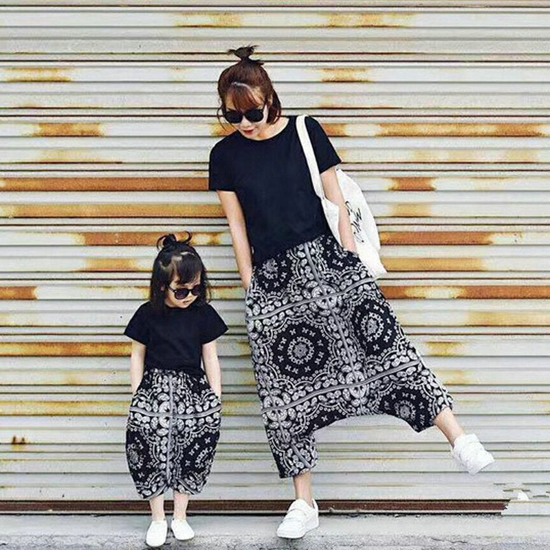 122ad2699 Family Matching Mother Daughter Clothing Sets Tops+ Shorts Sets Mom ...