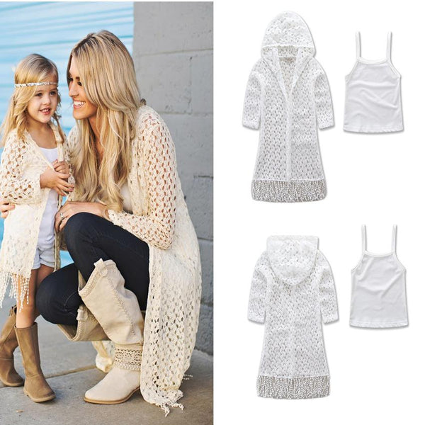 Family Matching Outfits 2018 New Hot Mom Daughter Family Clothes Women Kids Girls Tassel Casual Outwear + Tank Top 2pcs Fy043