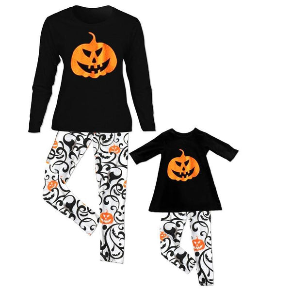 Family Matching Outfits Christmas Halloween Pajamas Set Women Kids Baby Girl Clothes Set Pumpkin