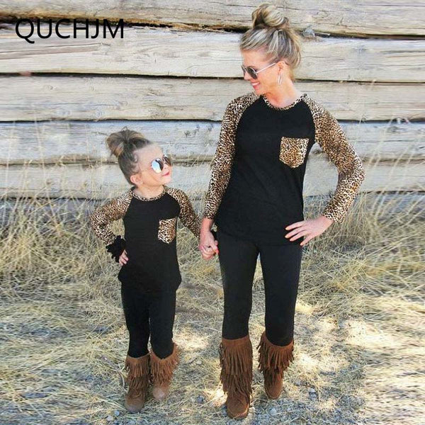 Family Matching Outfits Mother & Kids Children's Clothing 2018 Family T-Shirts Leopard