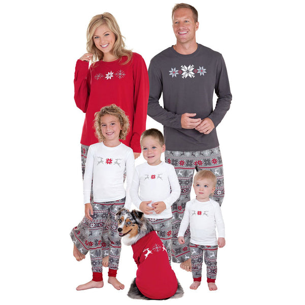 Family christmas pajamas 2018 Christmas snowflake Print family matching outfits Fashion Patchwork Long sleeve Family Look 1 Sets