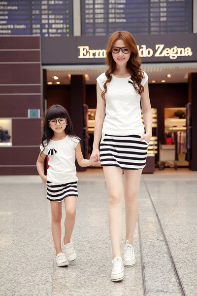 Family fashion summer set clothes for mother and daughter stripe sports skirt set matching mother daughter clothes