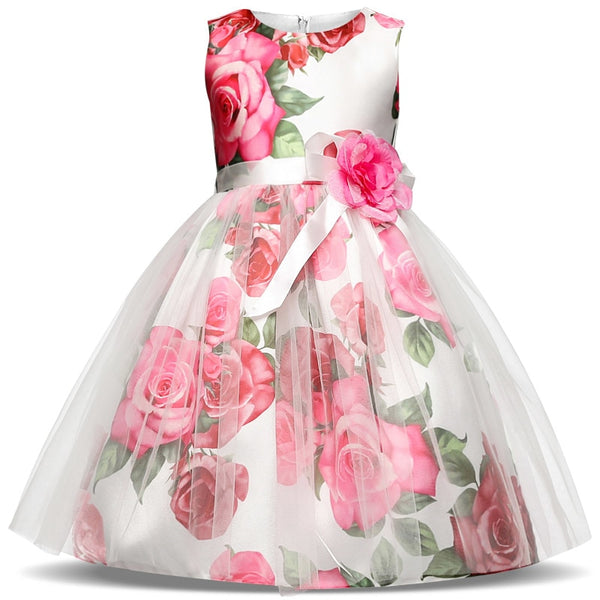 Fancy Elegant Dress Girl Evening Wedding Gown Tutu Princess Flower Girls Children Clothing Kids