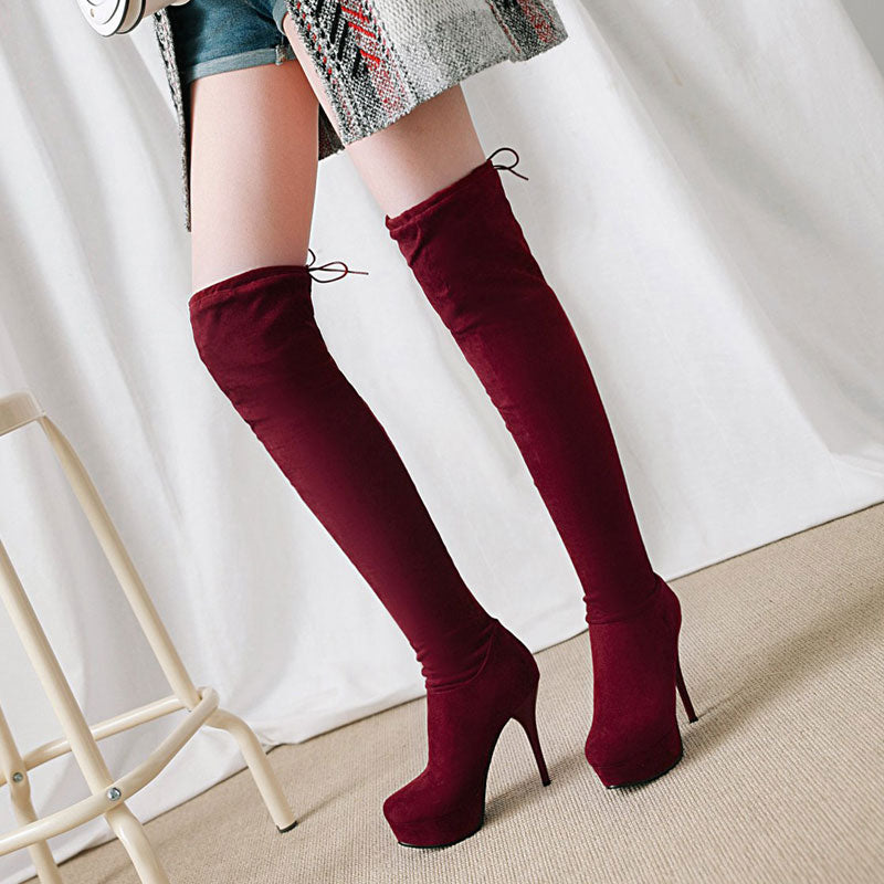 5f35339cabd Fanyuan Faux Suede Slim Boots Sexy over the knee high women snow boots high  heels women's
