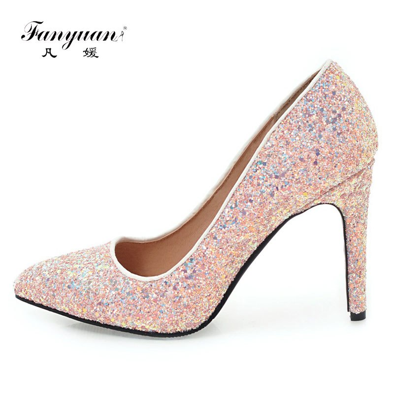 49f9432090f Fanyuan Women Pumps Shoes Woman Sexy High Heels Glitter Wedding Heels Shoes  Female white black pink party Shoes Stiletto 10 CM – Beal