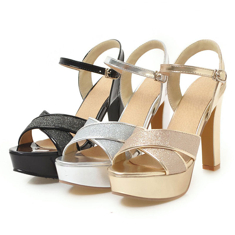 814a8f7c085 Fanyuan fashion women high heel Platform Sandals Ankle strap Gold shoes  Rubber Block Heels ladies Party Wedding Glitter Sandals – Beal