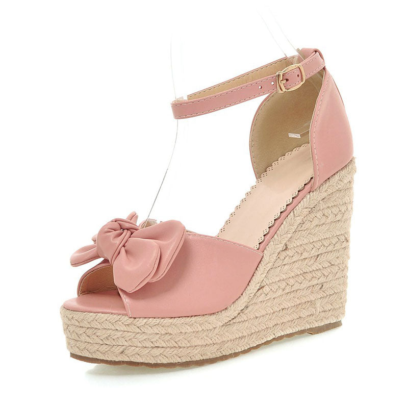 0b2841e3984d Fanyuan woman shoes Ankle Strapy Sandals Summer Peep toe Wedge Sandals Bow-knot  high Heels Wedding bridal Platform Sandalia – Beal | Daily Deals For Moms