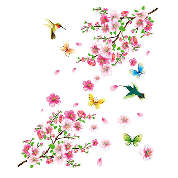 Fashion 1Set Hot 60X90cm Pink Peach Blossom Butterfly Bird Wall Sticker TV Background Decoration Home Decor Accessories