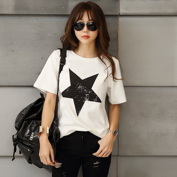 Fashion All Match O Neck Short Sleeve Women T Shirts Summer New Arrivals Bottoming Loose Star Print European Style Tops CS54