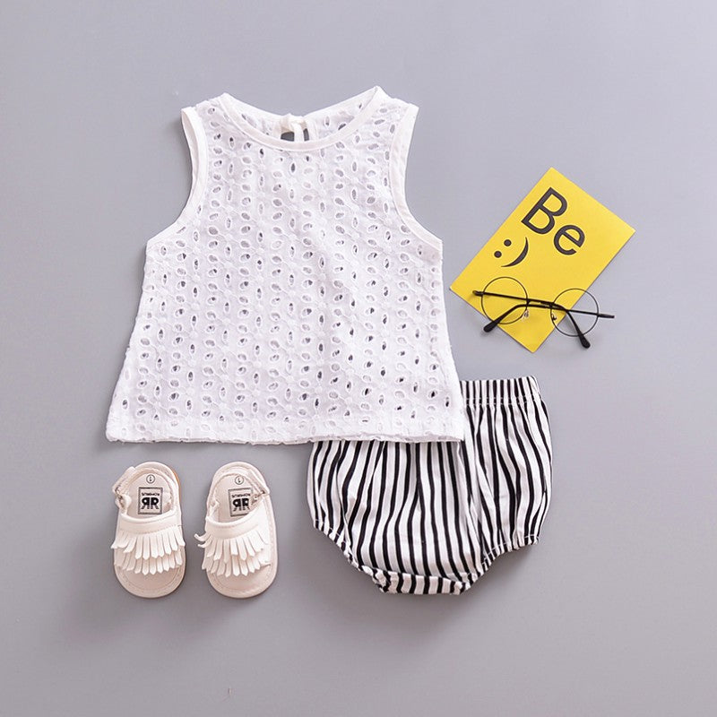 7d3d530fb Fashion Baby Cute Lace Hollow Tops T-shirt Blouse White Outfits ...