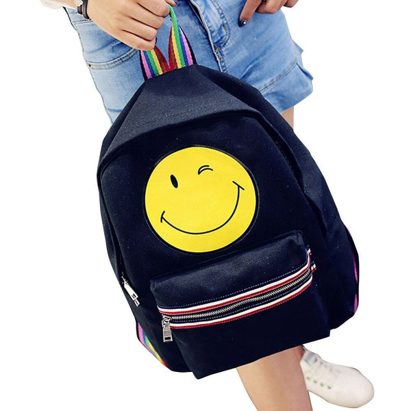 Fashion Canvas Satchel Backpack Rucksack Shoulder School Bag Cute Smiling Face Colorful rainbow