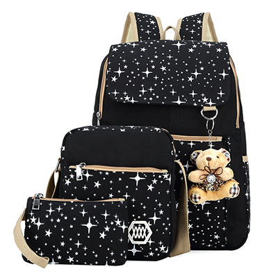 Fashion Composite Bag Preppy Style Backpacks For Teenage Girls High Quality Canvas School Bags Cute