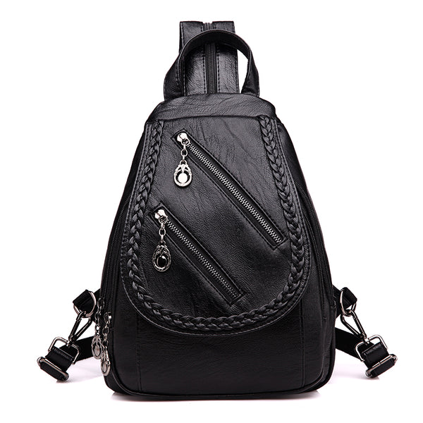 Fashion Double Zipper Leisure Women Backpack PU Leather Backpacks Female School Shoulder Bags for