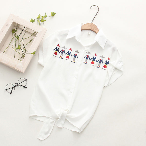 Fashion Embroidery Short Sleeve Women's Shirt Blusas Turn Down Collar White Shirt Blusas Ladies Blouse Womens Tops And Blouses