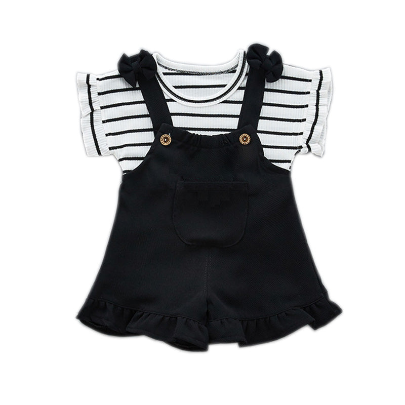 702fbab90ff78 Fashion Girls Clothing Sets 2018 Summer Baby Girls Clothes Kids Cotton  Striped Tops+Braces 2PCS