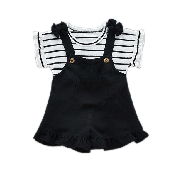 Fashion Girls Clothing Sets 2018 Summer Baby Girls Clothes Kids Cotton Striped Tops+Braces 2PCS