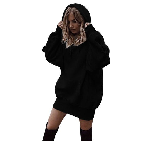 Fashion Loose Long  Hoodies Women Solid Color Pullover Drawstring Oversized Hoodie Sweatshirt