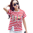 Fashion Side Split Women T Shirt 2017 New Summer O Neck Short Sleeve tshirt Casual Red Stripe Tee Girl Cotton Tee Tops S-2XL
