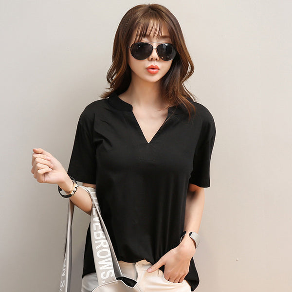 Fashion Solid Women T shirt Summer Women V Neck Top Short Sleeve Cotton T-shirt Casual Loose Black/White Tops Tees 2017 A100