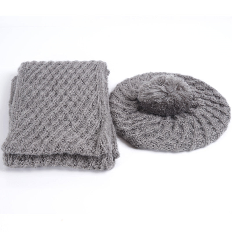 9474d89265c Fashion Two-Piece Sets Hats Scarf Women Winter New Knitted Hats Fashio –  Beal