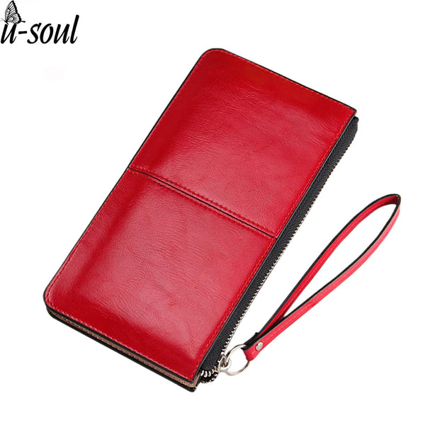 Fashion Wallet Oil Wax Leather Zipper Clutch Wallet Female Burglar Robbed Purse Lady Multi-Function Phone Bag Purse A554
