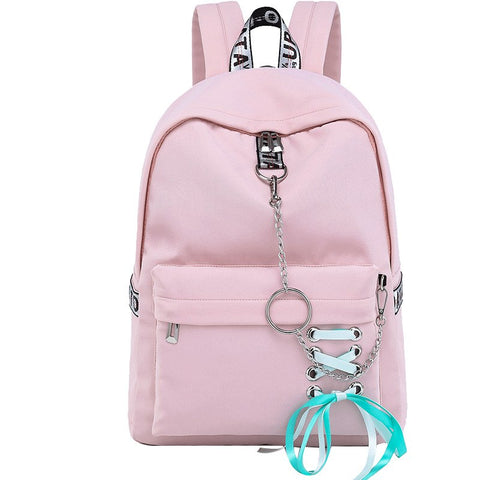 Fashion Waterproof Nylon Women Backpack Korean Personality Drawstring Bow Chains Design College