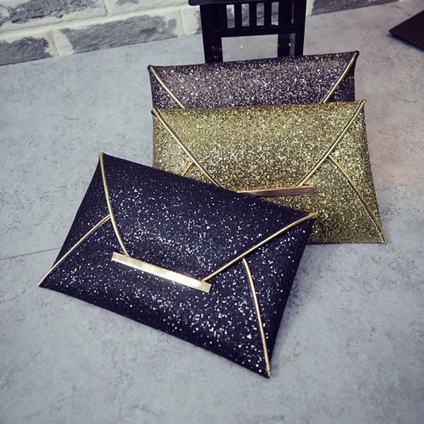 Fashion Women Envelope Clutch Bag Solid Color Leather Glitter Purse Party Delicate Handbag Ladies