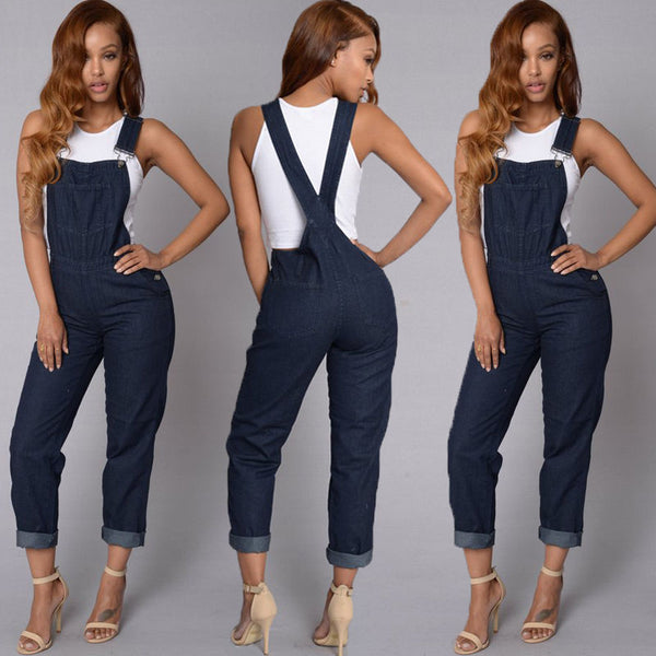 b62542ce32f Fashion Women Ladies Baggy Denim Jeans Bib Full Length Pinafore Dungaree  Overall Solid Loose Causal Jumpsuit