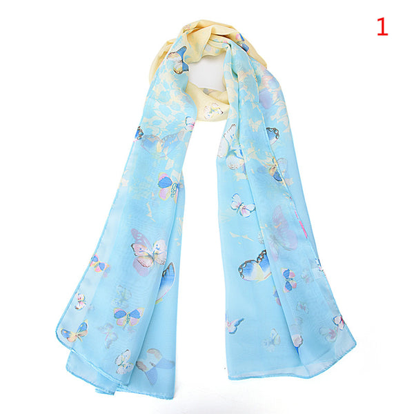Fashion Women Long Butterfly Flower Scarves Chiffon Printed Scarves Clothing Accessories 160*50cm