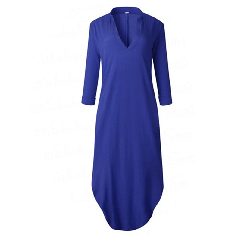 bc956a1104a0 Fashion Women Long Sleeve Deep V-neck Maxi Dress Ladies solid Split Hem  Baggy Kaftan Long Dresses