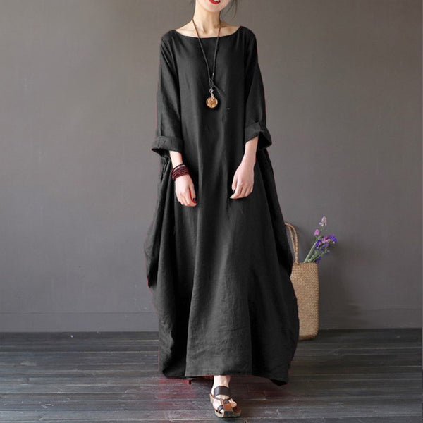 Faylisvow Plus Size Summer Maxi Dress Baggy 3/4 Batwing Sleeve Cotton Linen Long Dresses Casual