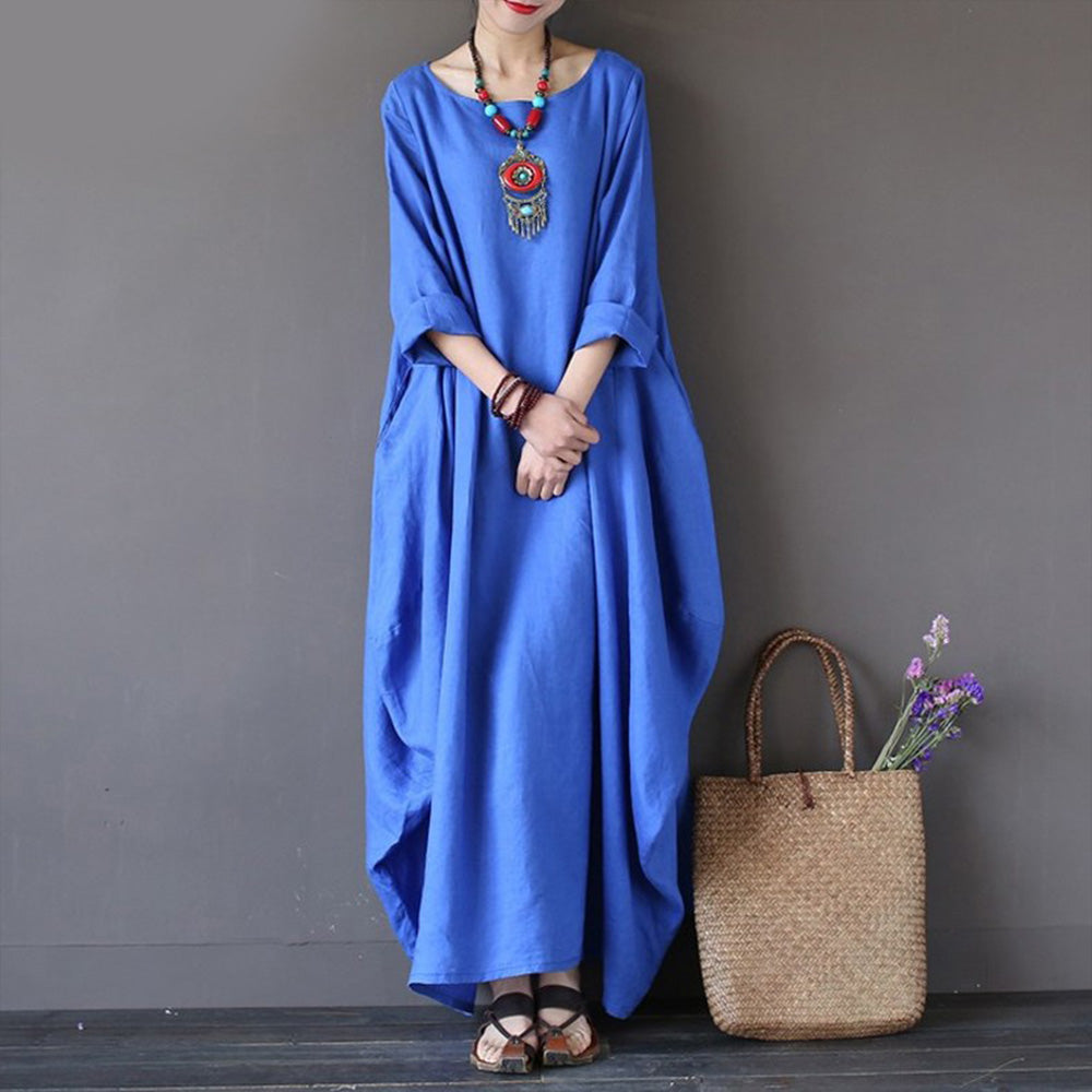 Faylisvow Plus Size Summer Maxi Dress Baggy 3/4 Batwing Sleeve ...