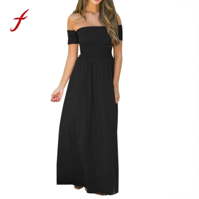 Feitong Womens Sexy Off Shoulder Dress Summer Solid Beach Evening Party  Long Maxi Pleated Dress Sundress vestidos feminino 2018 – Beal  2675a57293bf