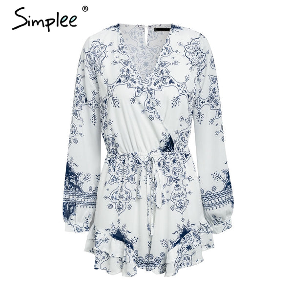 Floral print lantern long sleeve chiffon romper women V neck ruffles loose casual overalls