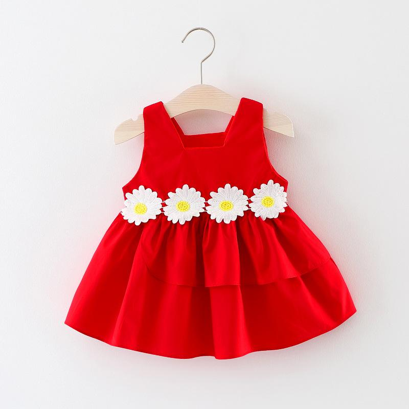 b5b8670135a Flower Baby Girls Dress 2018 New Sleeveless Newborn Dresses for Baby Girls  Summer 1 Year Birthday Party Dress Baby Clothing