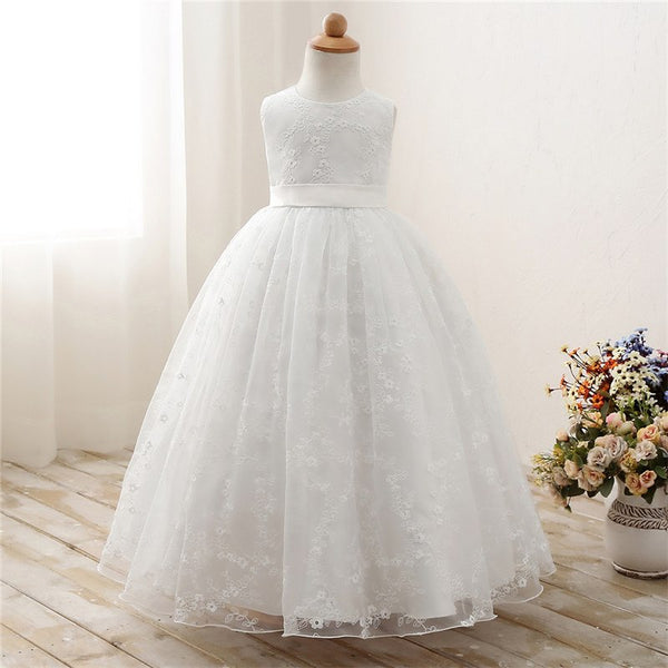 Flower Kids Dresses For Girl Wedding Gown Children's Girl Clothing Long Tulle Prom Dress Lace