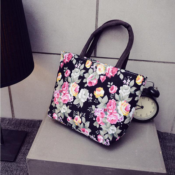 Flower print women small storage bags for key card phone coin purse practical canvas daily little