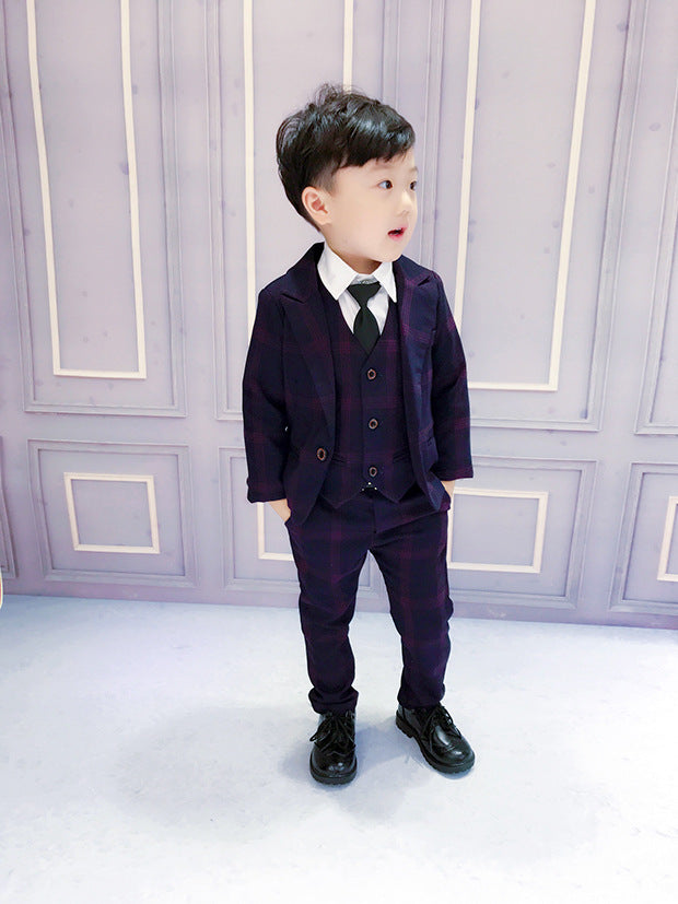 d8e9d084cd22 Formal 3PCS SET Boy Suits Weddings Kids Prom Suits Black Wedding ...